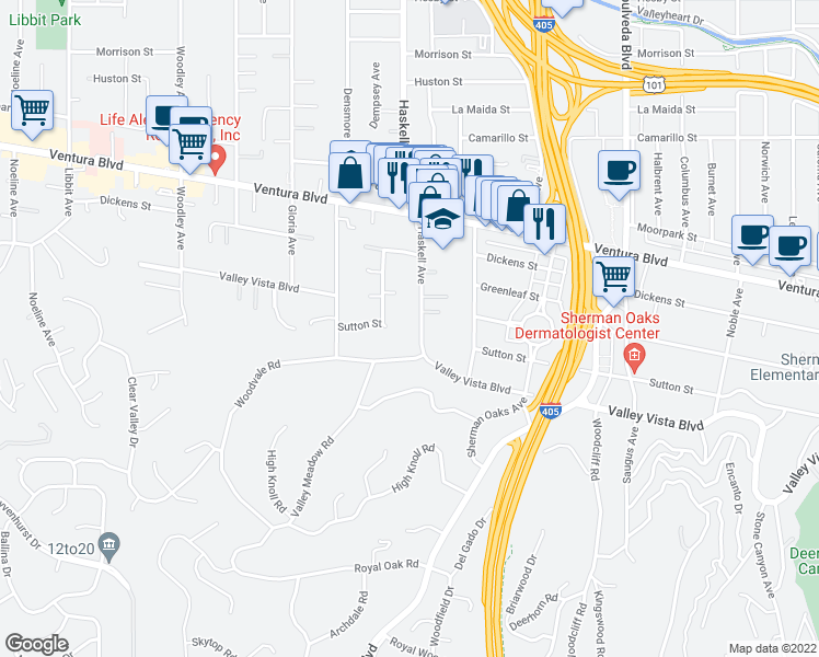 map of restaurants, bars, coffee shops, grocery stores, and more near 4421 Haskell Avenue in Encino