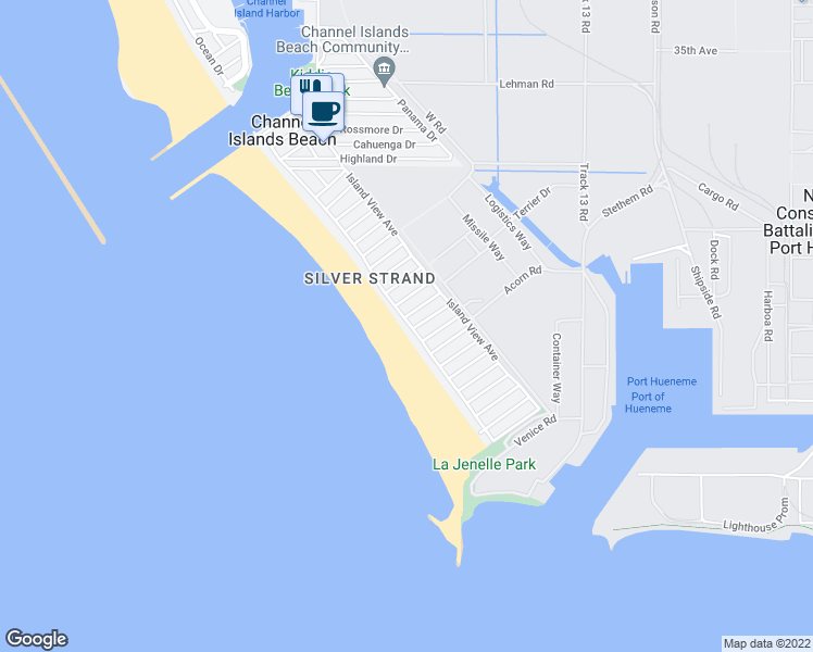 map of restaurants, bars, coffee shops, grocery stores, and more near 1013 Ocean Drive in Oxnard