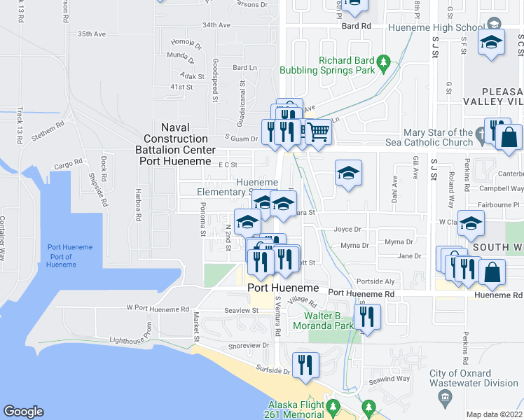 map of restaurants, bars, coffee shops, grocery stores, and more near 317 East Clara Street in Port Hueneme