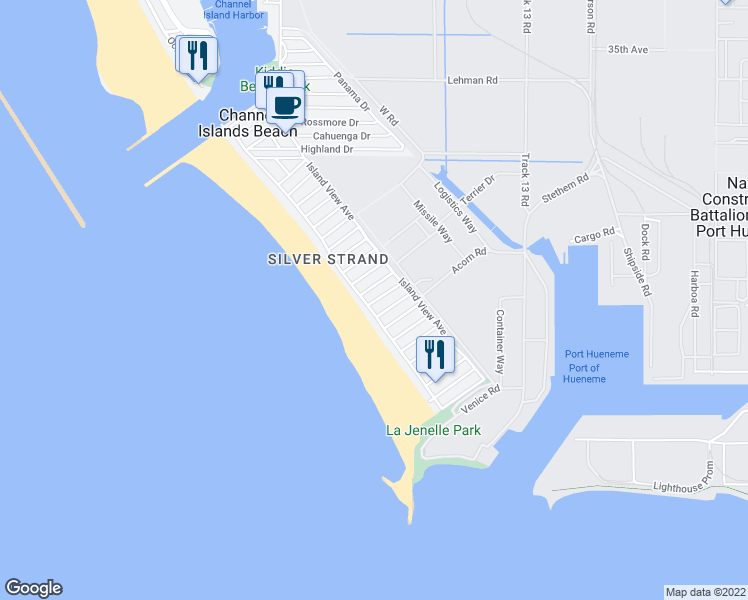 map of restaurants, bars, coffee shops, grocery stores, and more near 1000 Ocean Drive in Oxnard