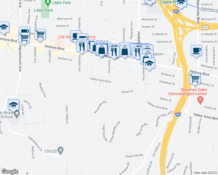 map of restaurants, bars, coffee shops, grocery stores, and more near 4454 Gloria Avenue in Los Angeles
