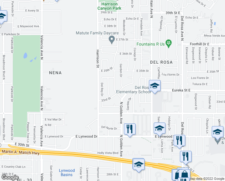 map of restaurants, bars, coffee shops, grocery stores, and more near 3310 Golden Avenue in San Bernardino