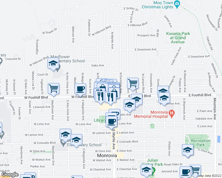 map of restaurants, bars, coffee shops, grocery stores, and more near 114 Stedman Place in Monrovia