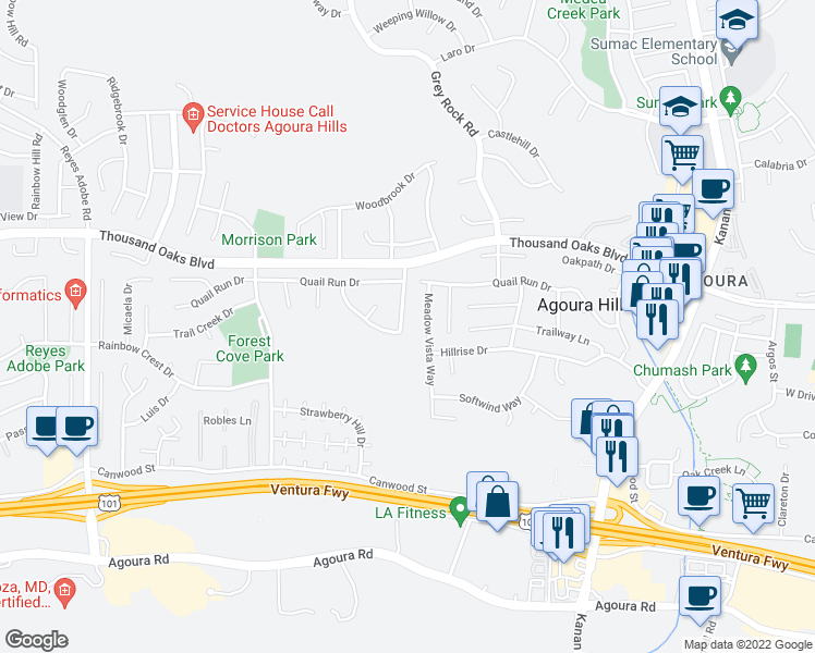 map of restaurants, bars, coffee shops, grocery stores, and more near 5608 Silver Valley Avenue in Agoura Hills