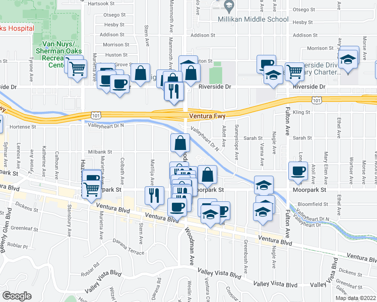 map of restaurants, bars, coffee shops, grocery stores, and more near 4500 Woodman Avenue in Los Angeles