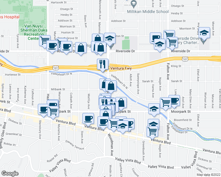 map of restaurants, bars, coffee shops, grocery stores, and more near 4500 Woodman Avenue in Sherman Oaks