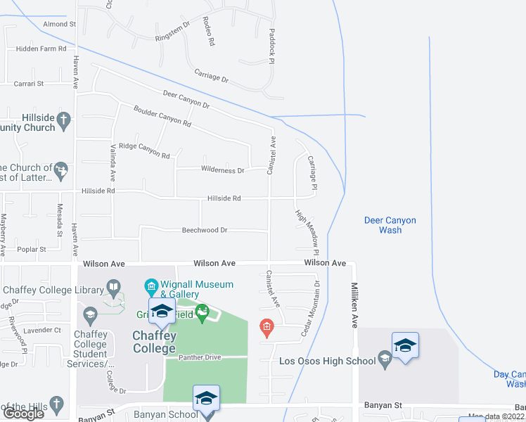 map of restaurants, bars, coffee shops, grocery stores, and more near 5568 Canistel Avenue in Rancho Cucamonga