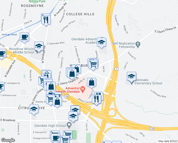 map of restaurants, bars, coffee shops, grocery stores, and more near 1600 East Chevy Chase Drive in Glendale