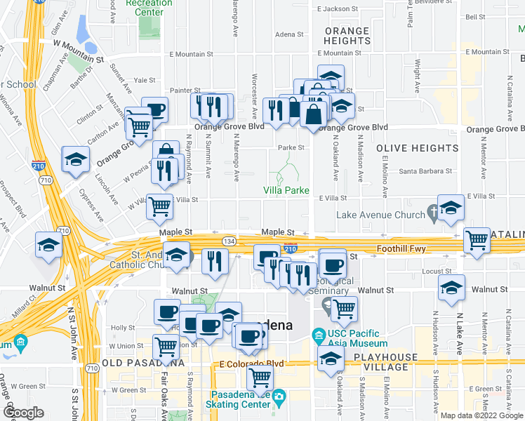 map of restaurants, bars, coffee shops, grocery stores, and more near 425-445 Garfield Avenue in Pasadena