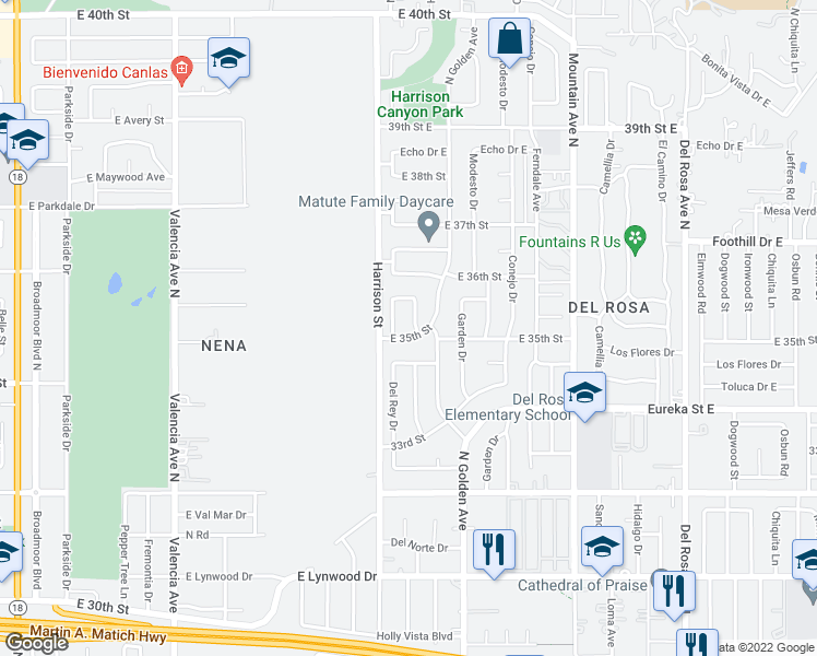 map of restaurants, bars, coffee shops, grocery stores, and more near 3516 North Alameda Avenue in San Bernardino