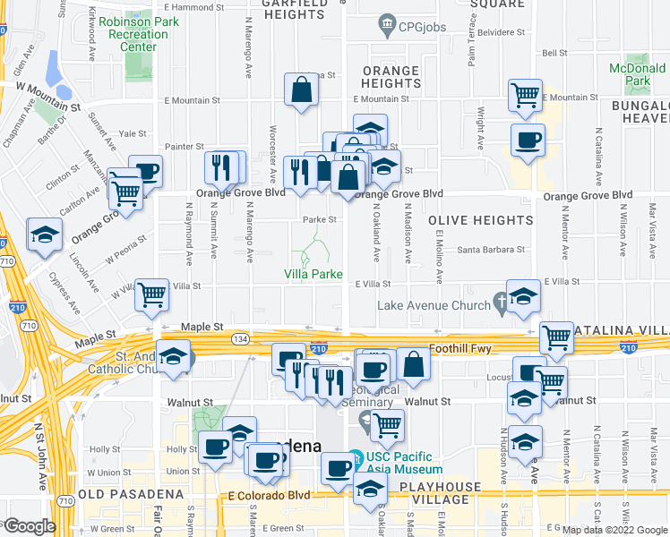 map of restaurants, bars, coffee shops, grocery stores, and more near 517 North Los Robles Avenue in Pasadena