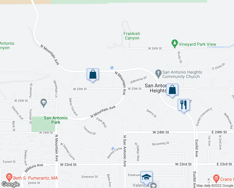 map of restaurants, bars, coffee shops, grocery stores, and more near 845 Ponte Vecchio Court in Upland