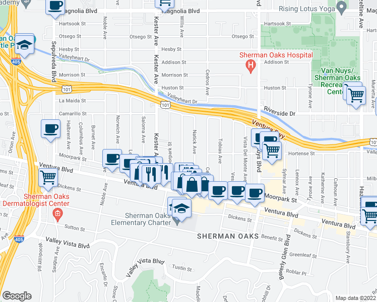 map of restaurants, bars, coffee shops, grocery stores, and more near 4630 Willis Avenue in Los Angeles