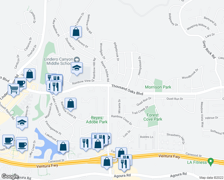 map of restaurants, bars, coffee shops, grocery stores, and more near 5603 Middle Crest Drive in Agoura Hills