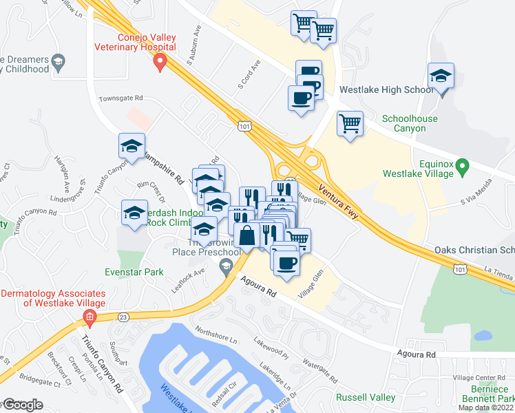map of restaurants, bars, coffee shops, grocery stores, and more near 875 South Westlake Boulevard in Westlake Village