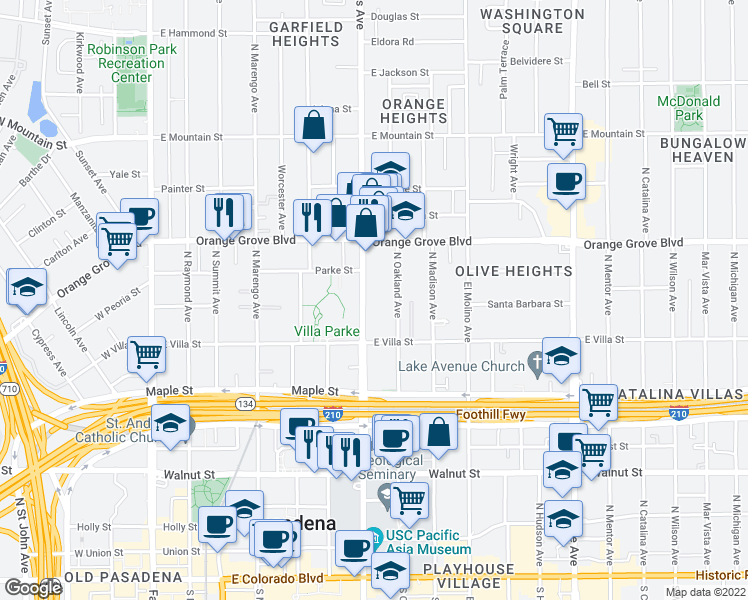 map of restaurants, bars, coffee shops, grocery stores, and more near 570 North Los Robles Avenue in Pasadena