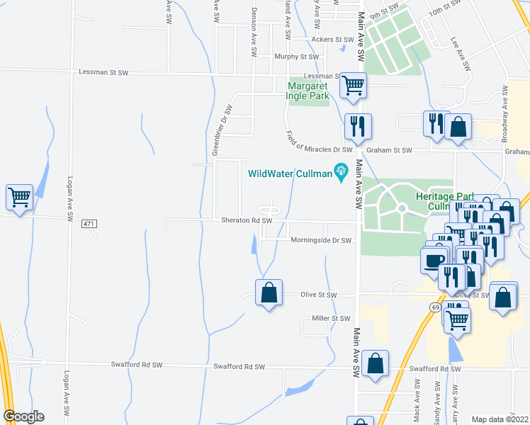map of restaurants, bars, coffee shops, grocery stores, and more near Kensington Circle in Cullman