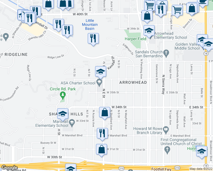 map of restaurants, bars, coffee shops, grocery stores, and more near 3551 North E Street in San Bernardino