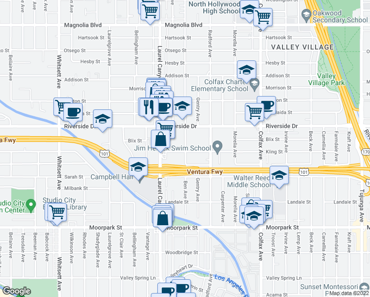 map of restaurants, bars, coffee shops, grocery stores, and more near 12015 Kling Street in Los Angeles
