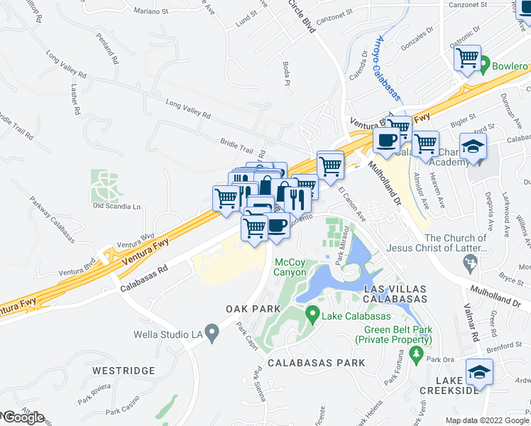 map of restaurants, bars, coffee shops, grocery stores, and more near 23593 Calabasas Road in Calabasas