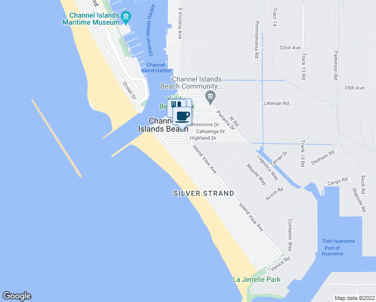 map of restaurants, bars, coffee shops, grocery stores, and more near 124 Simi Avenue in Oxnard