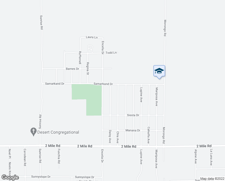 map of restaurants, bars, coffee shops, grocery stores, and more near 5343 Daisy Avenue in Twentynine Palms