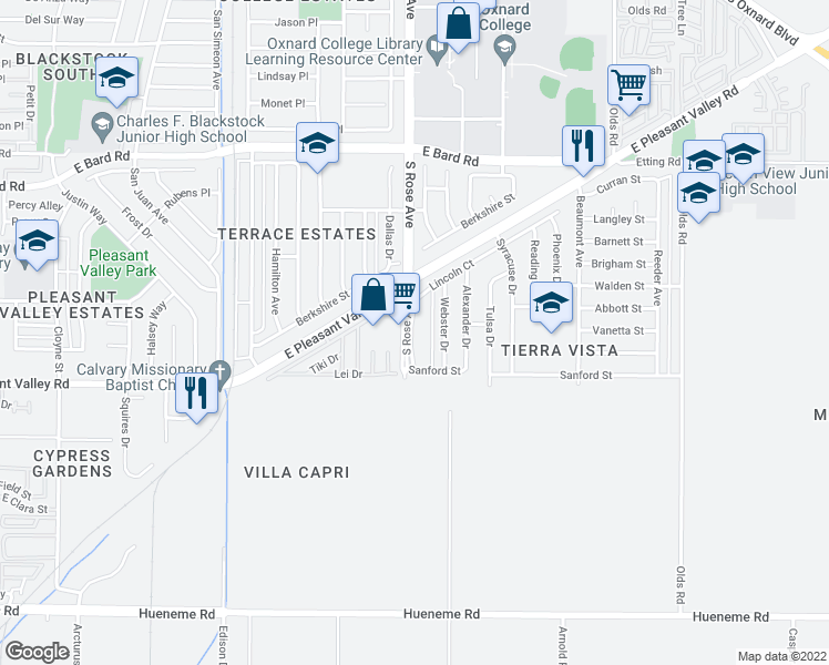 map of restaurants, bars, coffee shops, grocery stores, and more near 4840 South Rose Avenue in Oxnard