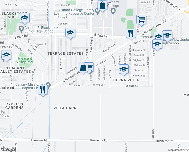 map of restaurants, bars, coffee shops, grocery stores, and more near 4831 Webster Drive in Oxnard