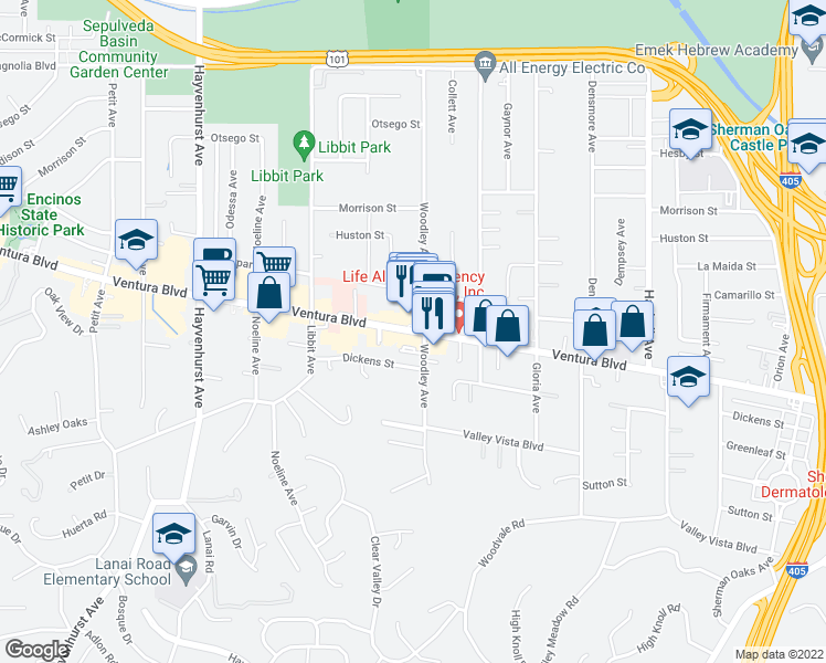 map of restaurants, bars, coffee shops, grocery stores, and more near Ventura Boulevard in Los Angeles
