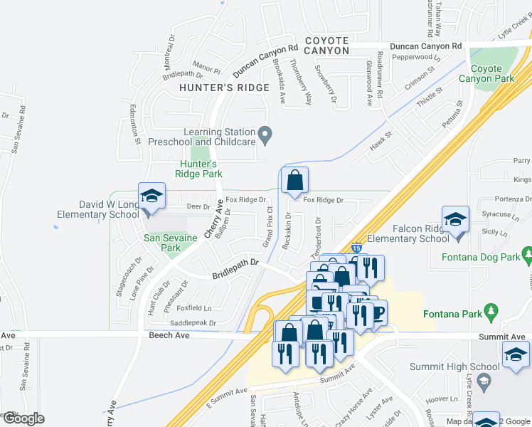 map of restaurants, bars, coffee shops, grocery stores, and more near 5372 Grand Prix Court in Fontana