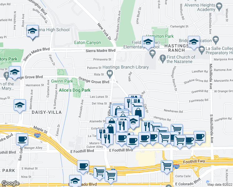 map of restaurants, bars, coffee shops, grocery stores, and more near 600 Sierra Madre Villa Avenue in Pasadena
