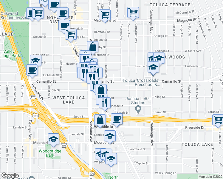 map of restaurants, bars, coffee shops, grocery stores, and more near 10834 Blix Street in Los Angeles