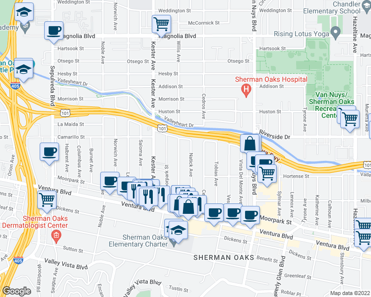 map of restaurants, bars, coffee shops, grocery stores, and more near 4701 Natick Avenue in Los Angeles