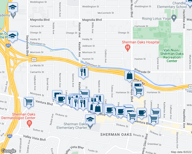 map of restaurants, bars, coffee shops, grocery stores, and more near 4701 Natick Avenue in Sherman Oaks