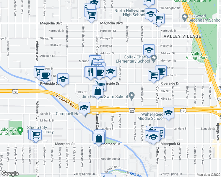 map of restaurants, bars, coffee shops, grocery stores, and more near 12000 Riverside Drive in Los Angeles