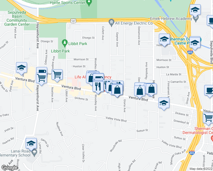 map of restaurants, bars, coffee shops, grocery stores, and more near 16012 Moorpark Street in Los Angeles
