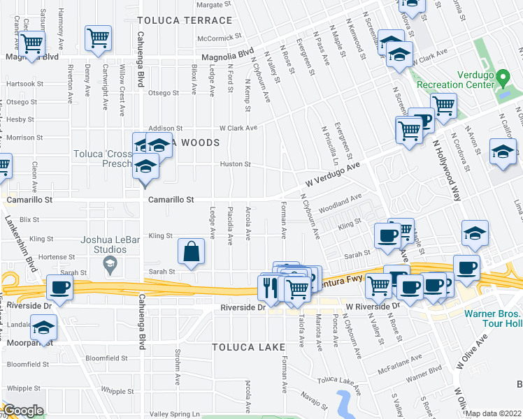 map of restaurants, bars, coffee shops, grocery stores, and more near 10240 Camarillo Street in Los Angeles