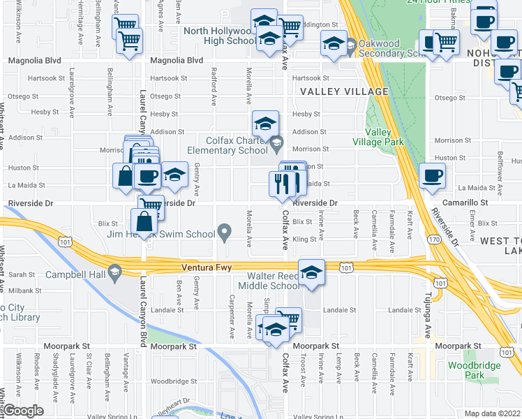 map of restaurants, bars, coffee shops, grocery stores, and more near 11733 Riverside Drive in Los Angeles