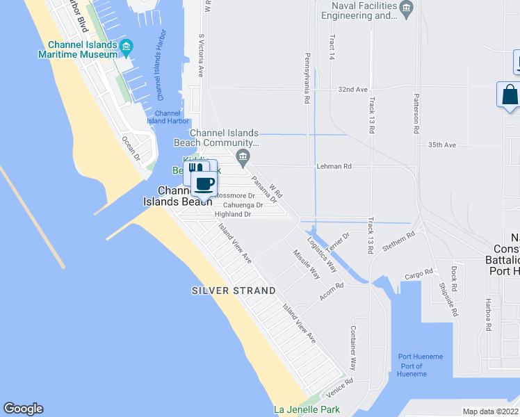 map of restaurants, bars, coffee shops, grocery stores, and more near 342 Cahuenga Drive in Oxnard
