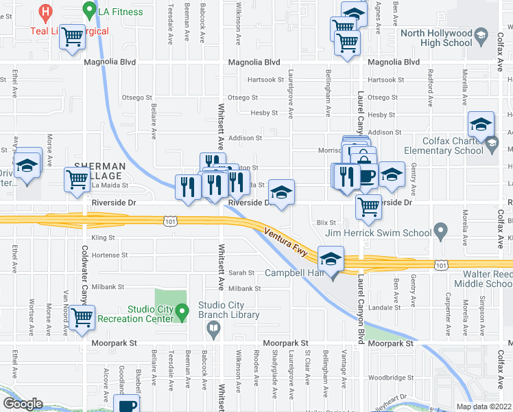 map of restaurants, bars, coffee shops, grocery stores, and more near 12360 Riverside Drive in Los Angeles