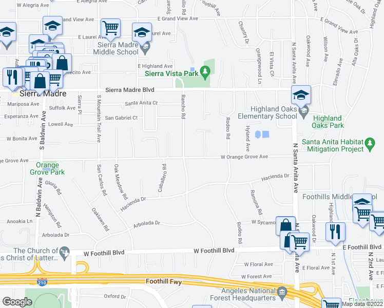 map of restaurants, bars, coffee shops, grocery stores, and more near 615 East Orange Grove Avenue in Sierra Madre