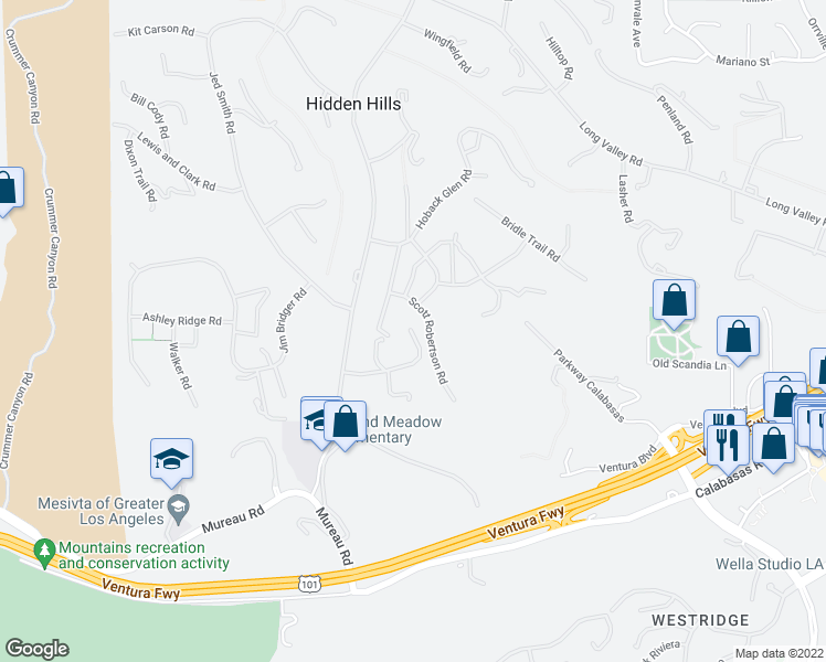 map of restaurants, bars, coffee shops, grocery stores, and more near 24500 John Colter Road in Hidden Hills