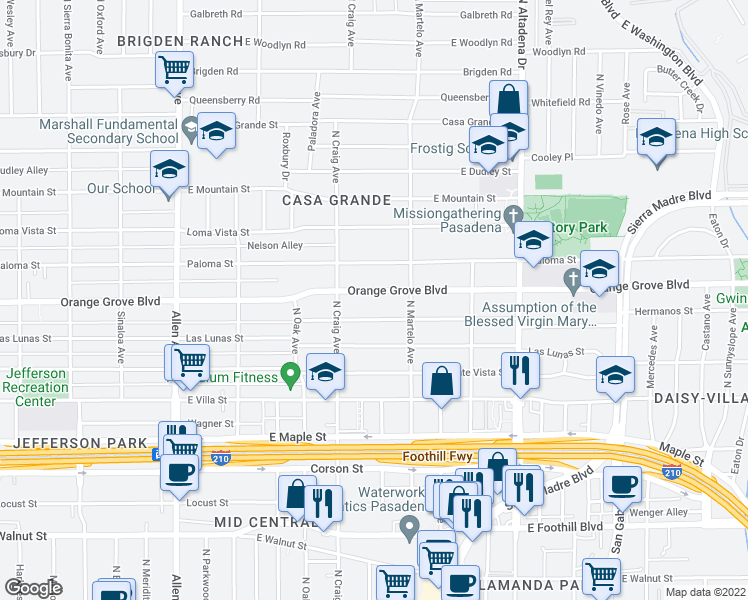 map of restaurants, bars, coffee shops, grocery stores, and more near 2218 East Orange Grove Boulevard in Pasadena