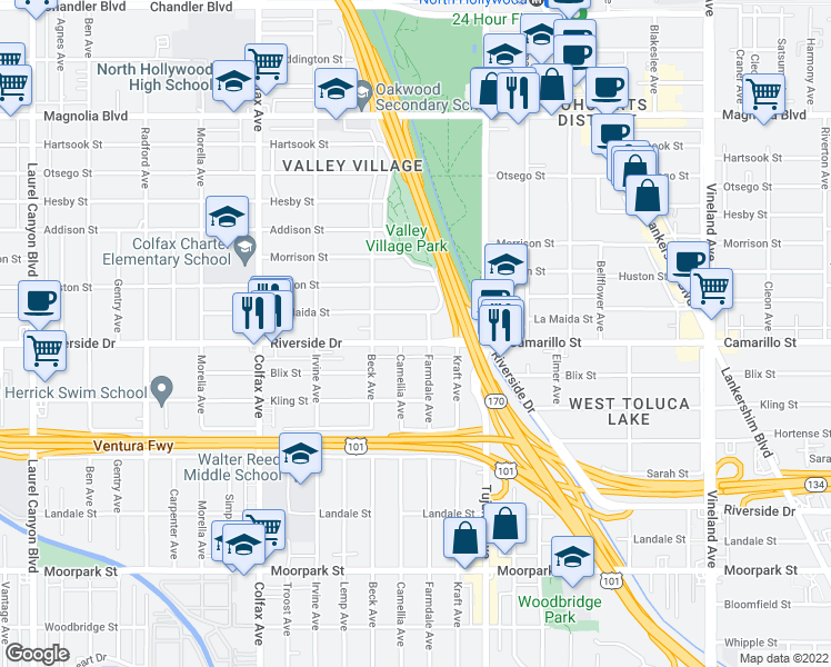 map of restaurants, bars, coffee shops, grocery stores, and more near 11473 Riverside Drive in Los Angeles