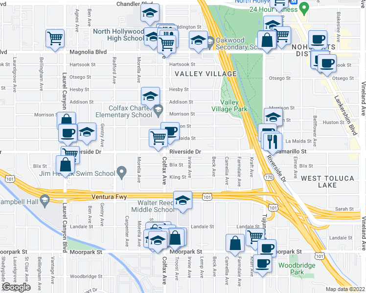 map of restaurants, bars, coffee shops, grocery stores, and more near 11615 Riverside Drive in Los Angeles