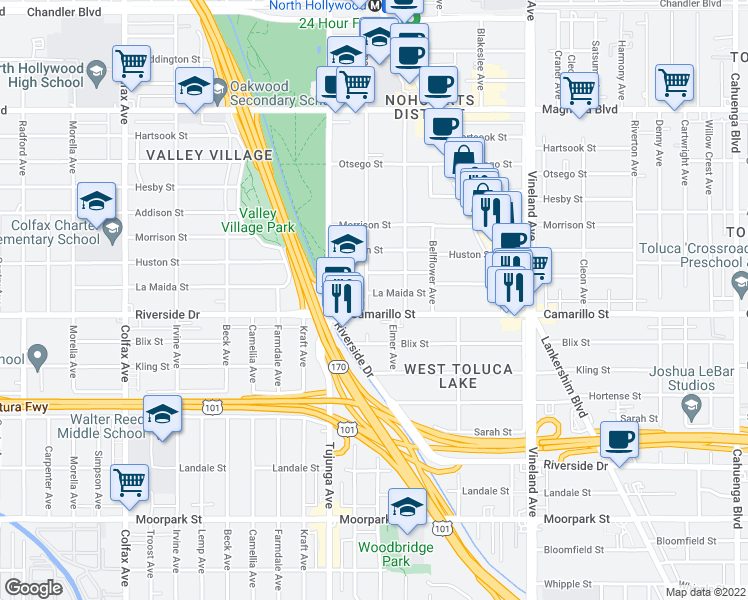 map of restaurants, bars, coffee shops, grocery stores, and more near 11280 La Maida Street in Los Angeles