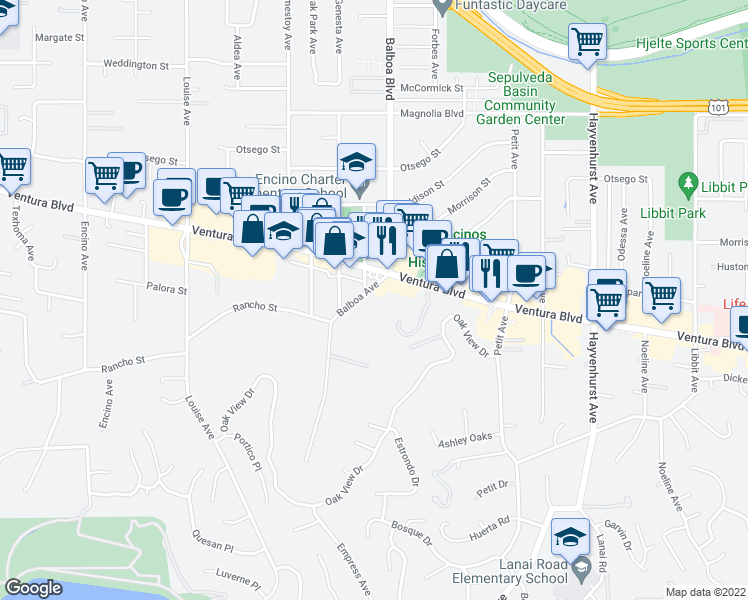 map of restaurants, bars, coffee shops, grocery stores, and more near 4836 Balboa Avenue in Los Angeles
