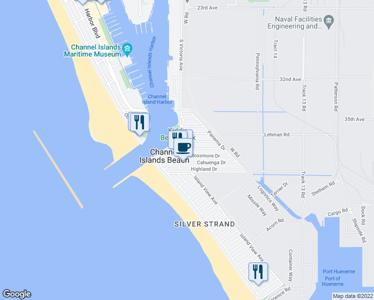map of restaurants, bars, coffee shops, grocery stores, and more near 228 Melrose Drive in Oxnard