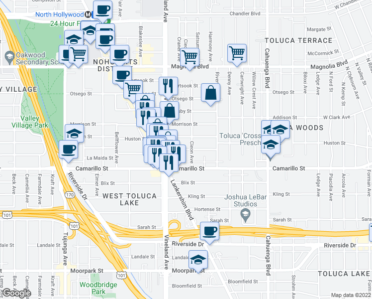 map of restaurants, bars, coffee shops, grocery stores, and more near 10916 Peach Grove Street in Los Angeles