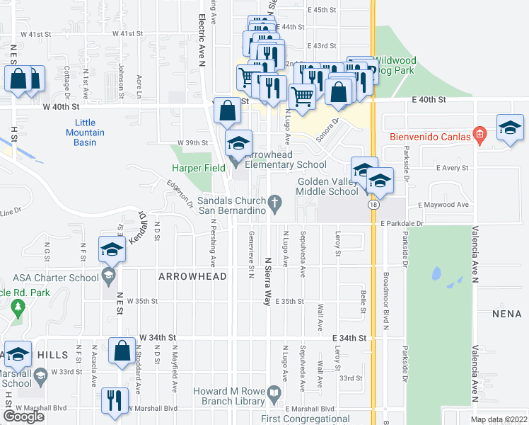map of restaurants, bars, coffee shops, grocery stores, and more near 102 West Parkdale Drive in San Bernardino